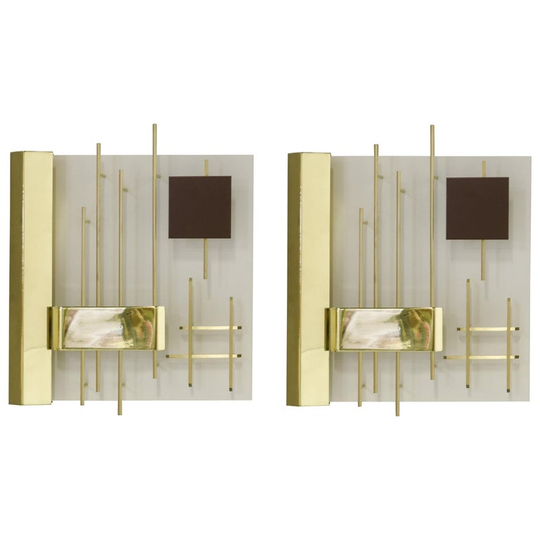 Gio Ponti Pair of Sculptural Wall Sconces Model 575 for Lumi Milano For Sale