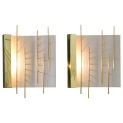 Gio Ponti Pair of Sculptural Wall Sconces,  Model 576 for Lumi Milano