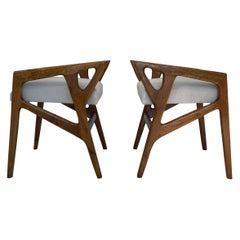 Gio Ponti Pair of Stools Walnut Wood White Seat Italy 1953 Excellent Patina