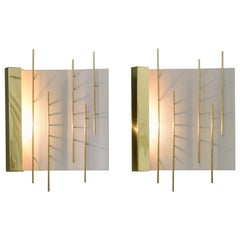 Gio Ponti Pair of Sculptural Wall Sconces Model 576 for Lumi Milano