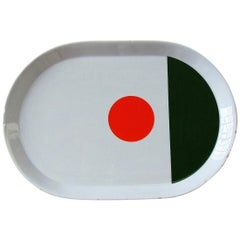 Gio Ponti Plate Glazed Porcelain White Green Orange Ceramica Italiana Pozzi