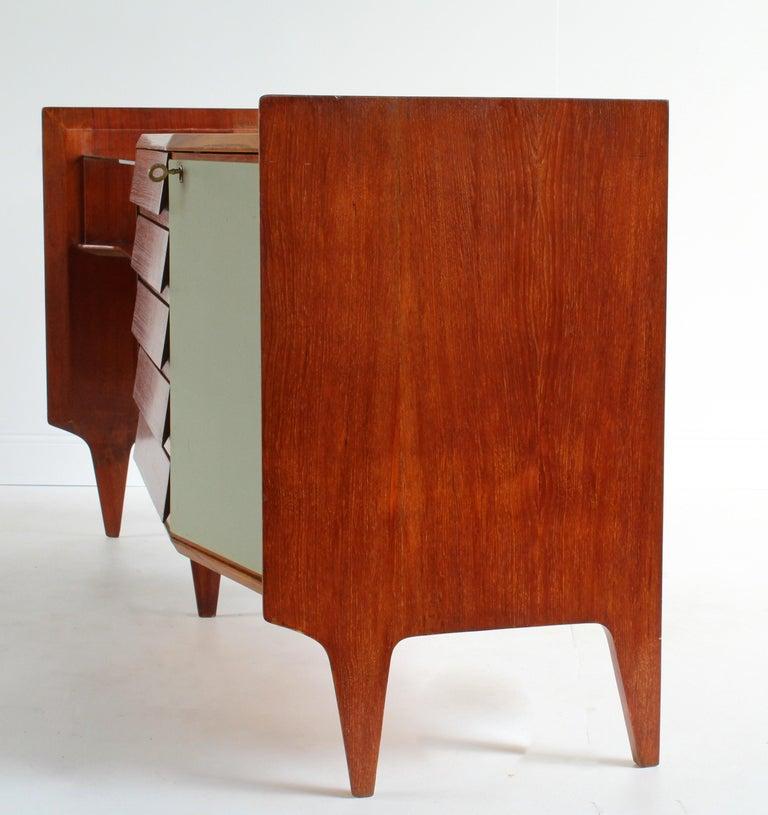 Gio Ponti, Rare Asymmetric Sideboard Mahogany Glass Vinyl Brass, Italy, 1950s For Sale 5