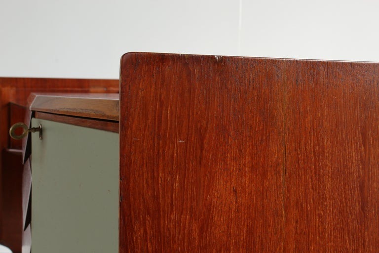 Gio Ponti, Rare Asymmetric Sideboard Mahogany Glass Vinyl Brass, Italy, 1950s For Sale 8