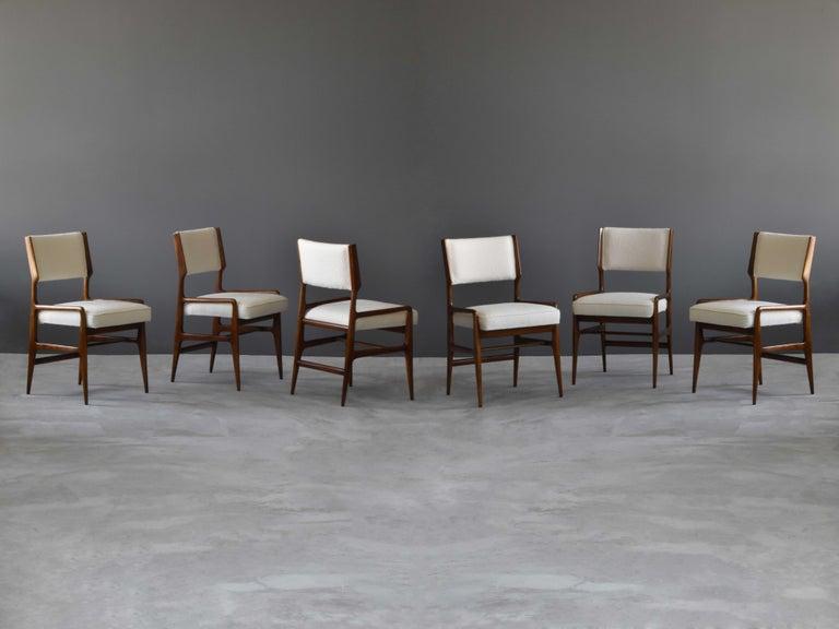 Italian Gio Ponti Rare Dining Chairs, Walnut, Boucle by Figli di Amedeo Cassina, 1960s For Sale