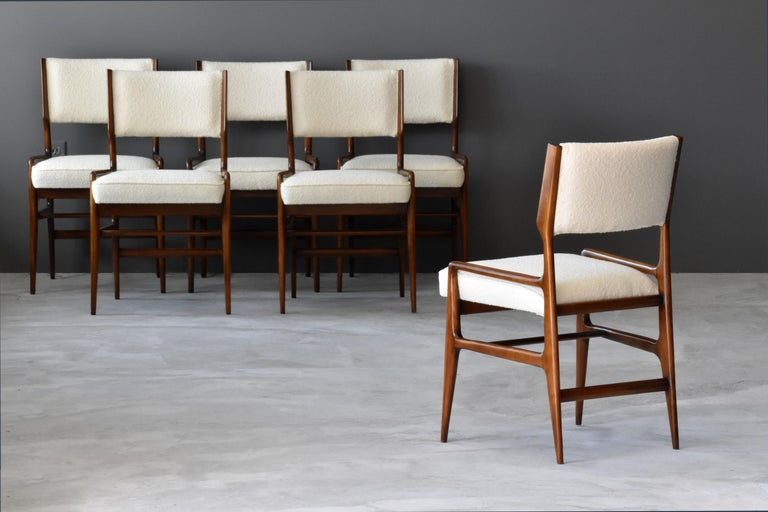 Bouclé Gio Ponti Rare Dining Chairs, Walnut, Boucle by Figli di Amedeo Cassina, 1960s For Sale