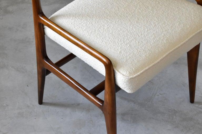 Gio Ponti Rare Dining Chairs, Walnut, Boucle by Figli di Amedeo Cassina, 1960s For Sale 1