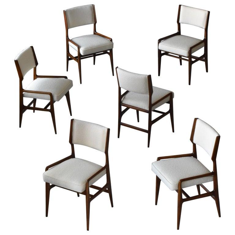Gio Ponti Rare Dining Chairs, Walnut, Boucle by Figli di Amedeo Cassina, 1960s For Sale