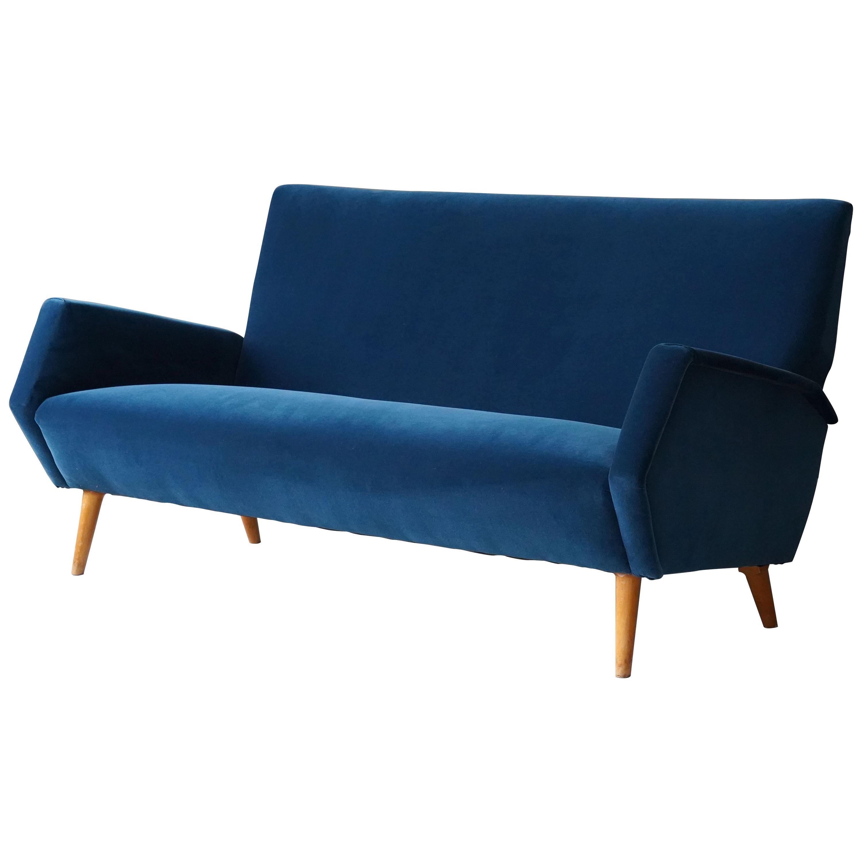 Gio Ponti Rare Production Settee or Sofa, Blue Velvet, Oak, Asko, Finland, 1950s