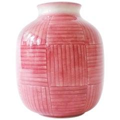 Gio Ponti Red Stripes Ceramic Vase for Richard Ginori, Italy, 1930s