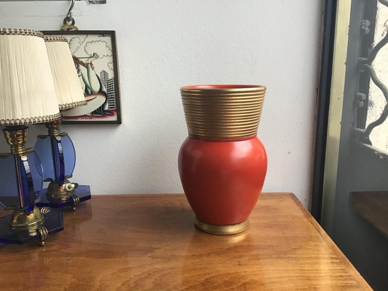 Other Gio Ponti Richard Ginori Vase Ceramic Gold Red, 1940, Italy For Sale