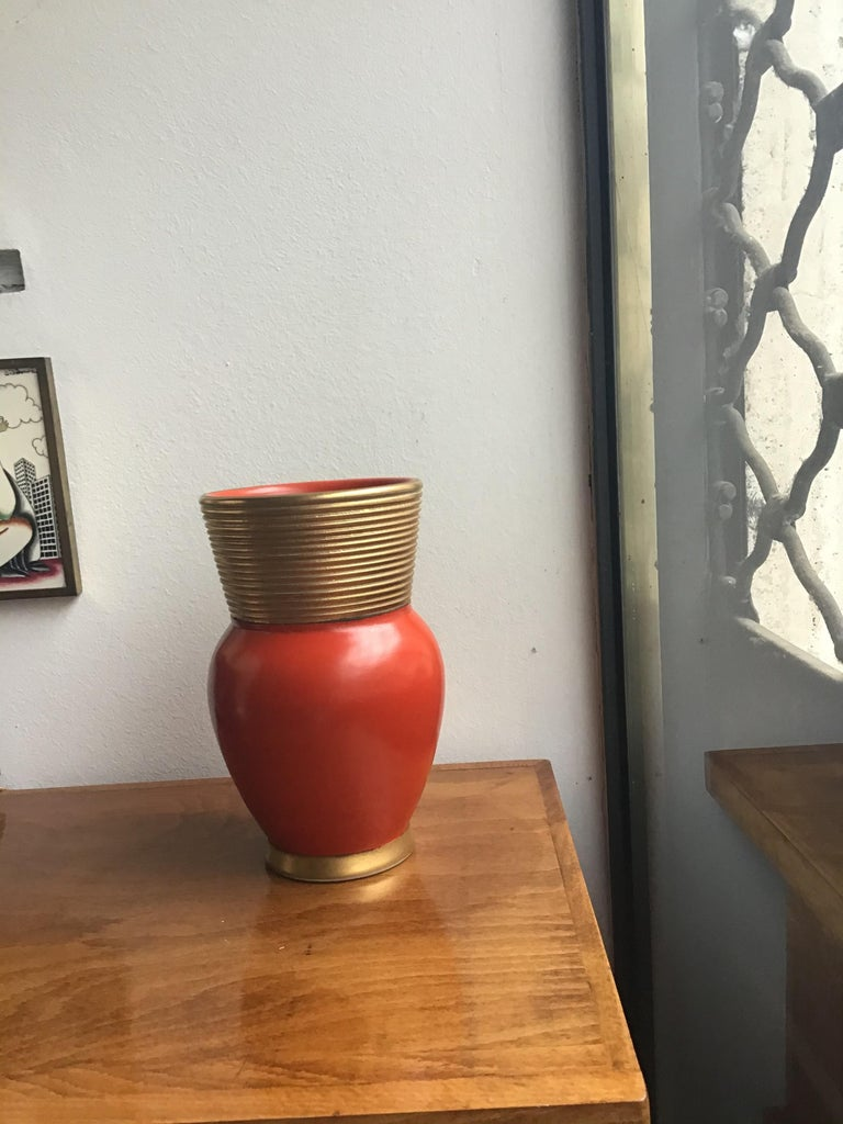 Gio Ponti Richard Ginori Vase Ceramic Gold Red, 1940, Italy For Sale 2