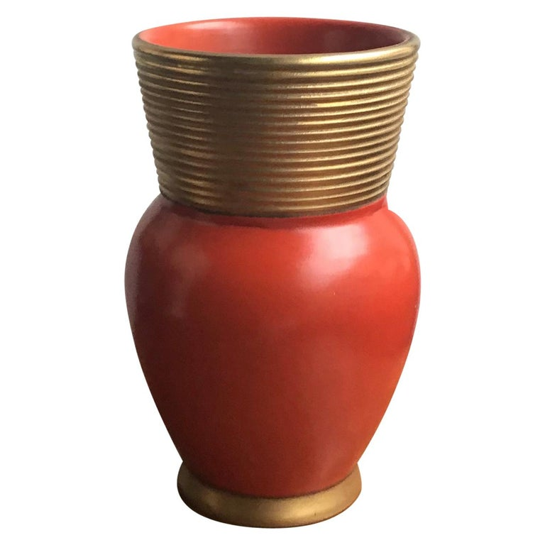 Gio Ponti Richard Ginori Vase Ceramic Gold Red, 1940, Italy For Sale