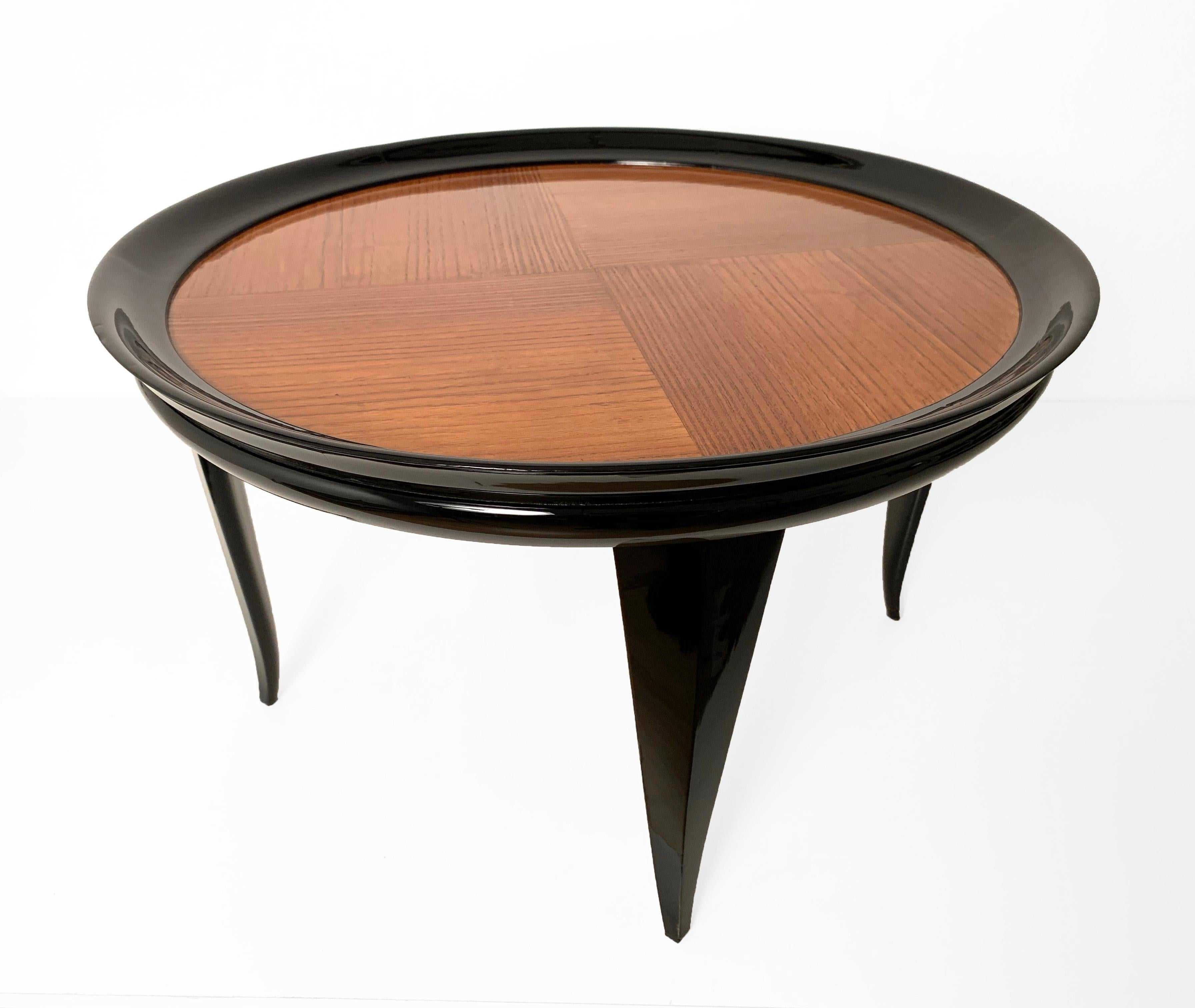 Gio Ponti Round Coffee Table Italian Art Deco Ebonized Wood Italy 1940s For At 1stdibs