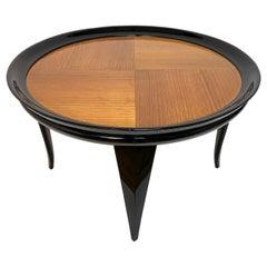 Gio Ponti Round Coffee Table Italian Art Deco, Ebonized Wood, Italy, 1940s