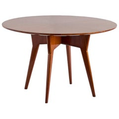 Gio Ponti Round Dining Table in Mahogany and Thuja Burr, Italy, Early 1950s