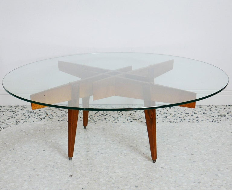 Brass Gio Ponti Low Table Manufactured by Giordano Chiesa with expertise, Milano 1956 For Sale