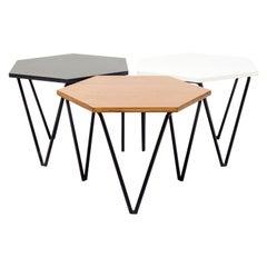 Gio Ponti, Set of 3 hexagonal low Tables for ISA BERGAMO, Italy, 1950s