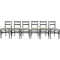 Gio Ponti Set of 6 Leggera Chairs by Cassina, 1950s