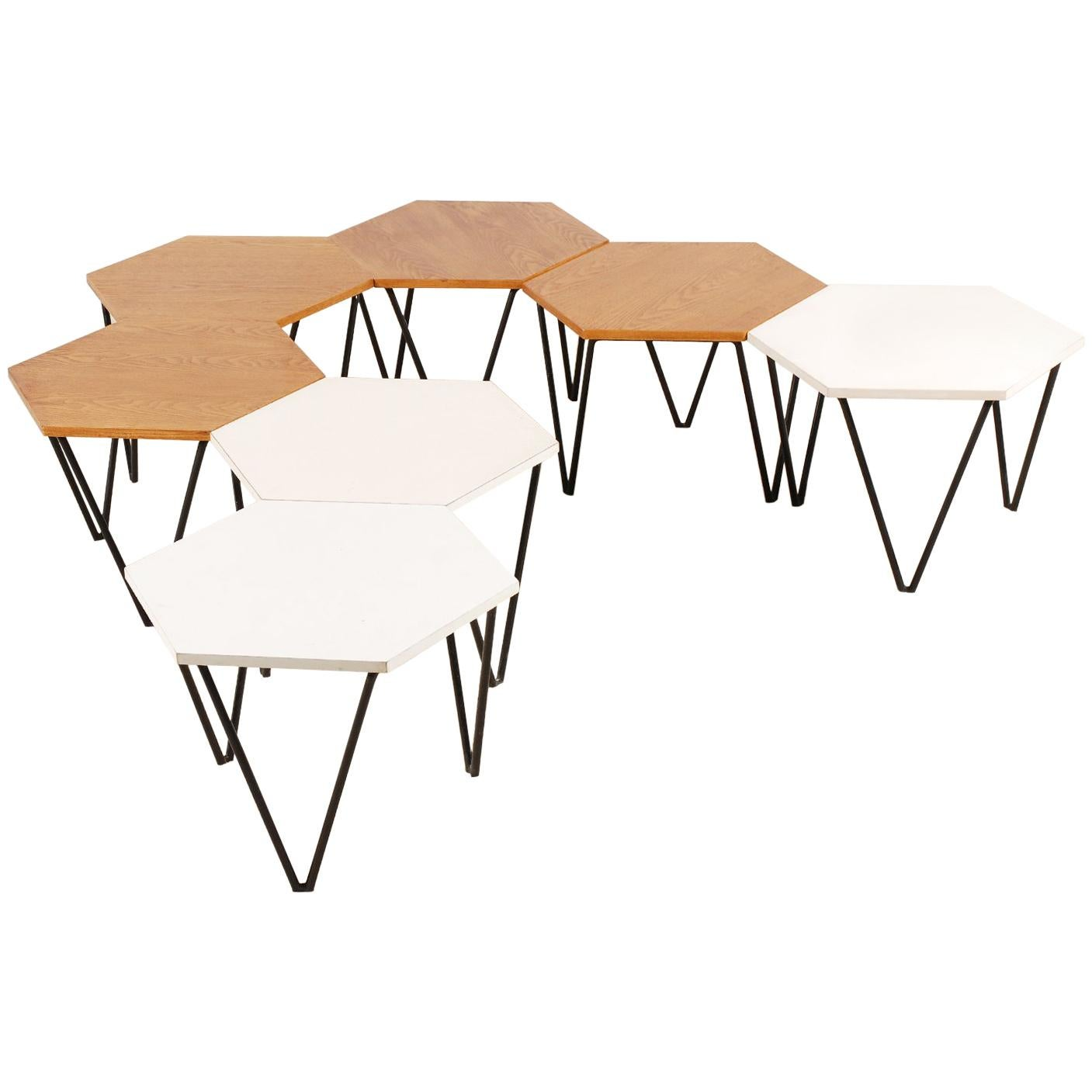 Beau Gio Ponti, Set Of 7 Modular Coffee Tables For I.S.A., Italy, Circa 1950