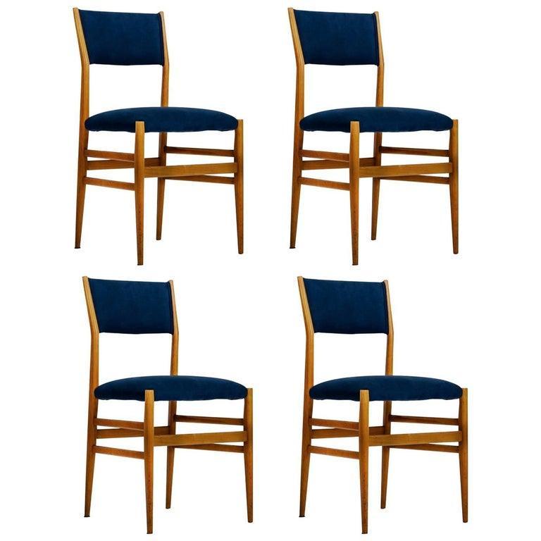 20th Century Gio Ponti Set of four Mid-century Blue Italian Dining Chairs Model
