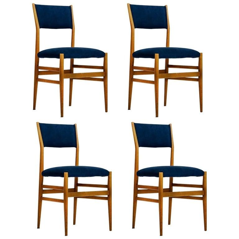 Upholstery Gio Ponti Set of four Mid-century Blue Italian Dining Chairs Model