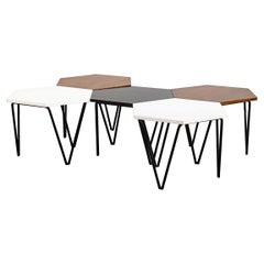 Gio Ponti Set of Five Coffee Tables in Wood and Metal ISA, 1950s, Italy