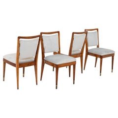 Gio Ponti Set of Four Chairs in Wood and Grey Velvet, Archive Certificate