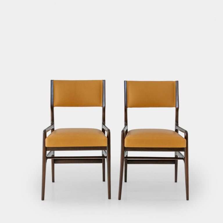 Italian Gio Ponti Set of Four Rare Dining Chairs For Sale
