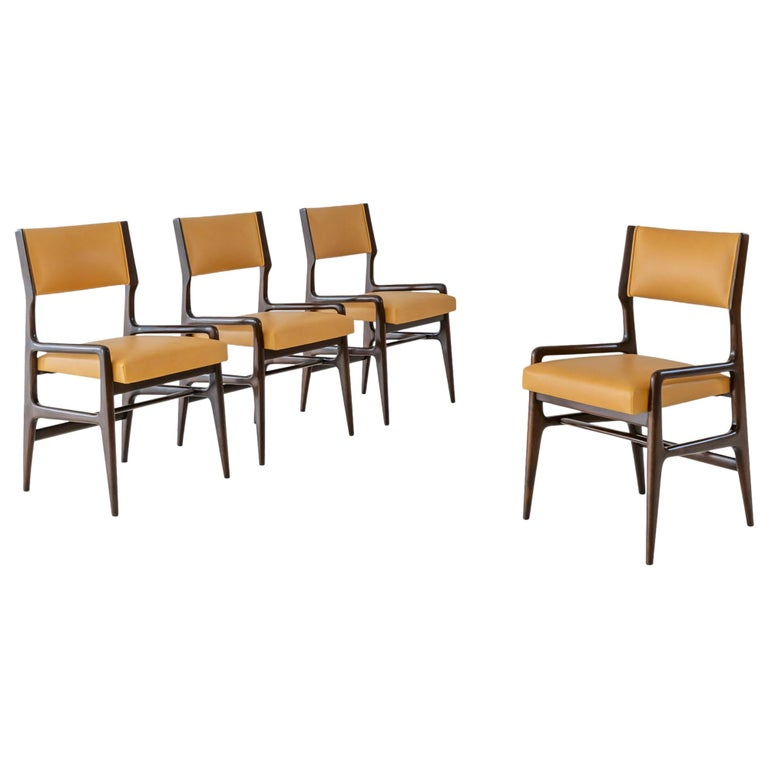 Gio Ponti Set of Four Rare Dining Chairs For Sale
