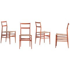 Gio Ponti Set of Four Superleggera Chairs Cassina, 1957