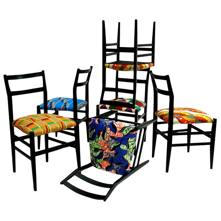 "Gio Ponti Set of Six Black Lacquered Ashwood ""LEGGERA"" Italian Chairs For Sale"