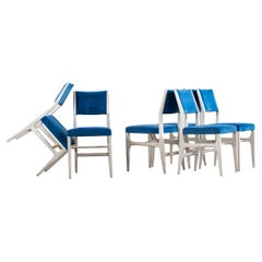 Gio Ponti Set of Six Wooden Dining Chairs 602, Italy, 1950s