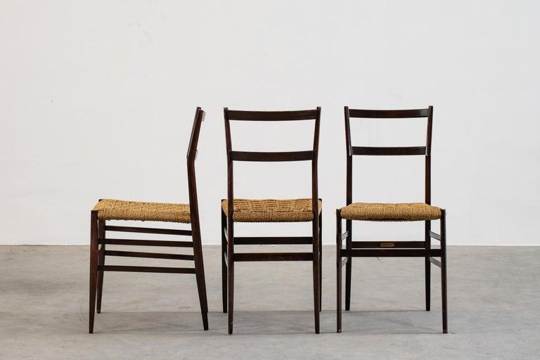 Italian Gio Ponti Set of Three First Edition Superleggera Chairs for Cassina, 1957 For Sale