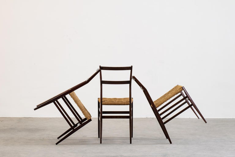 Varnished Gio Ponti Set of Three First Edition Superleggera Chairs for Cassina, 1957 For Sale