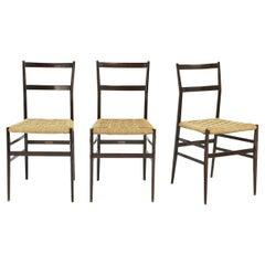 Gio Ponti Set of Three First Edition Superleggera Chairs for Cassina, 1957