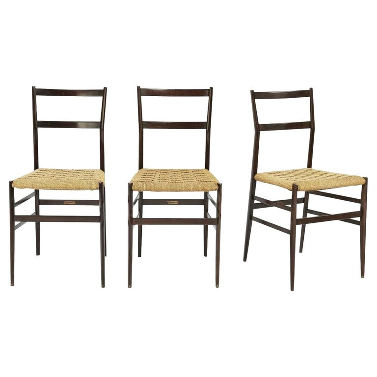Gio Ponti Set of Three First Edition Superleggera Chairs for Cassina, 1957 For Sale