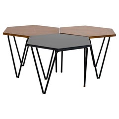 Gio Ponti Set of Three Hexagonal Coffee Tables in Wood and Metal I.S.A. 1950s