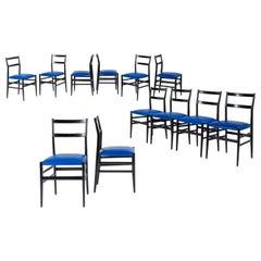 Gio Ponti Set of Twelve Leggera Chairs in Wood and Blue Skai Cassina, 1951