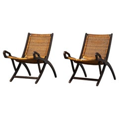 Gio Ponti Set of Two Ninfea Armchairs in Wood and Rattan for Reguitti