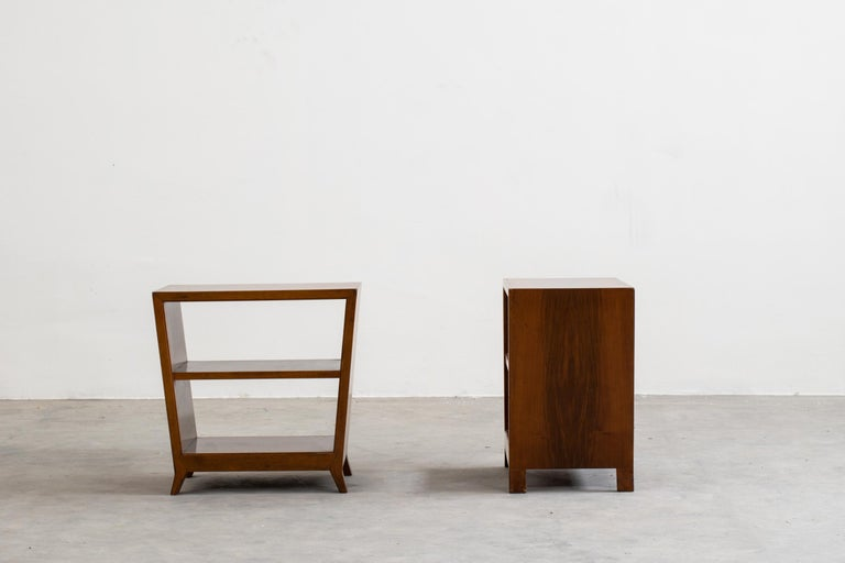 Mid-Century Modern Gio Ponti Set of Two Side Tables with Shelves in Walnut Schirolli, 1950s For Sale