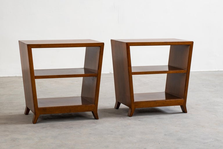Italian Gio Ponti Set of Two Side Tables with Shelves in Walnut Schirolli, 1950s For Sale