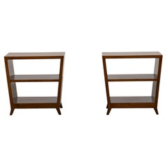 Gio Ponti Set of Two Side Tables with Shelves in Walnut Schirolli, 1950s