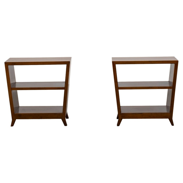 Gio Ponti Set of Two Side Tables with Shelves in Walnut Schirolli, 1950s For Sale