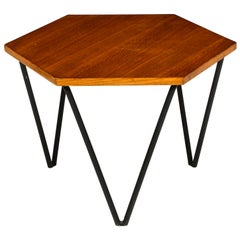 Gio Ponti Side Table by ISA, Wood and Iron, 1950s, Midcentury, Italy