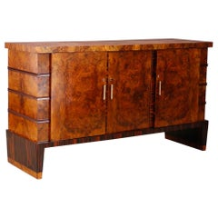 Gio Ponti Sideboard Midcentury in Walnut Briar and Brass Attributed, 1950s