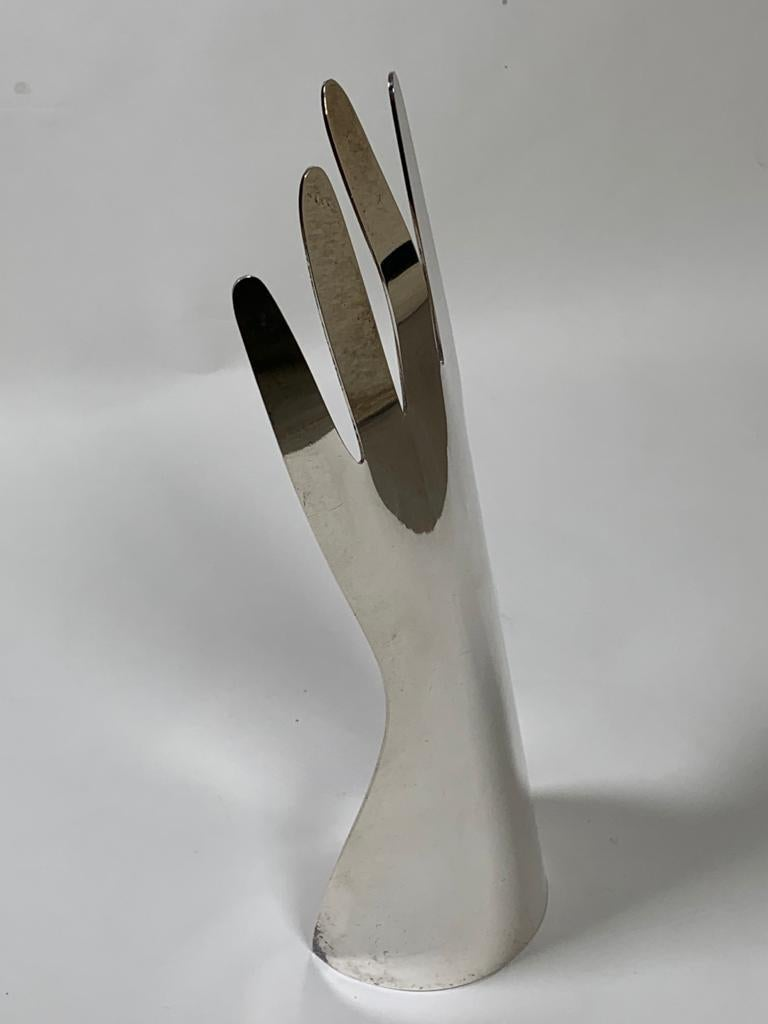 Modern Gio Ponti Silver Metal Sculpture Model Hand 5 Fingers for Sabattini, Italy For Sale