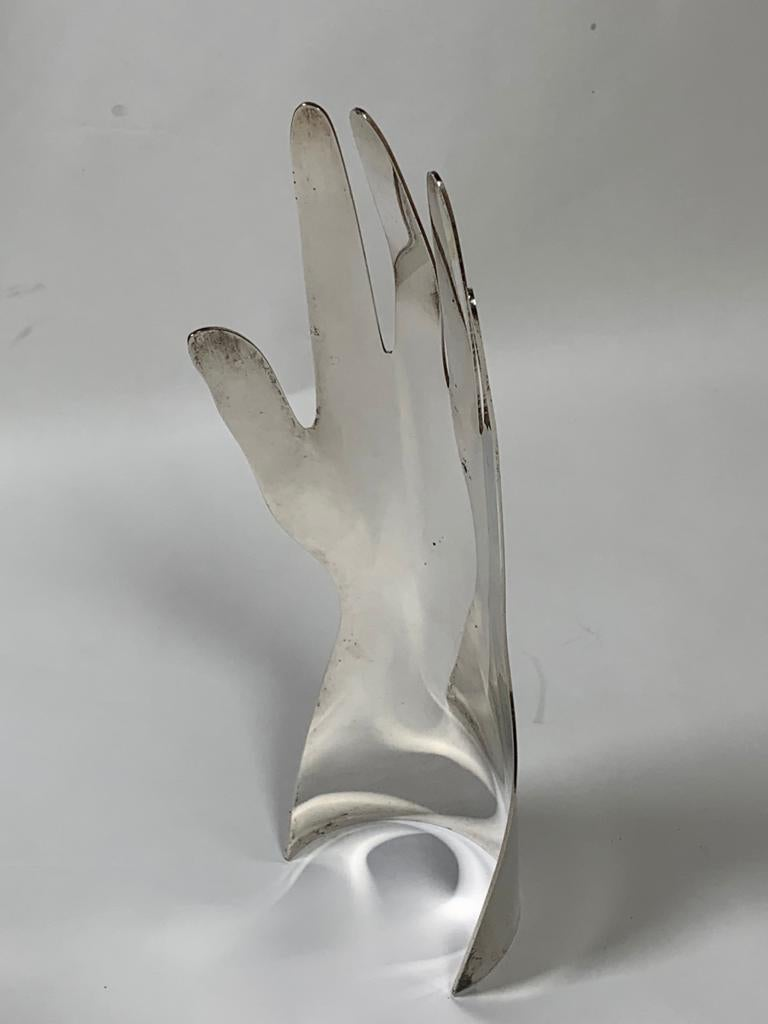 Silvered Gio Ponti Silver Metal Sculpture Model Hand 5 Fingers for Sabattini, Italy For Sale