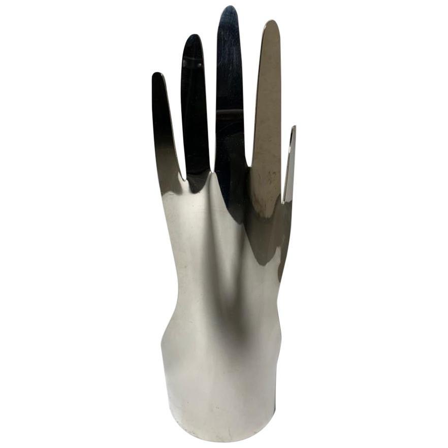 Gio Ponti Silver Metal Sculpture Model Hand 5 Fingers for Sabattini, Italy