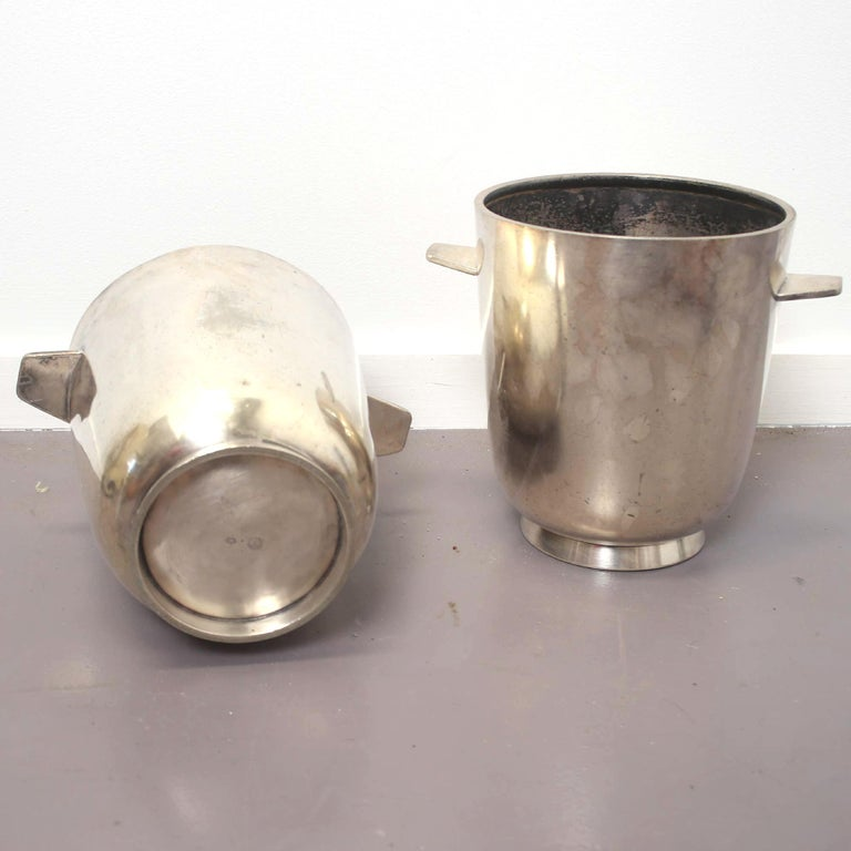 Beautiful champagne buckets by Gio Ponti design for the Hotel Parco dei Principi in Italy, 1950 very rare pieces both signed. Silver plated.