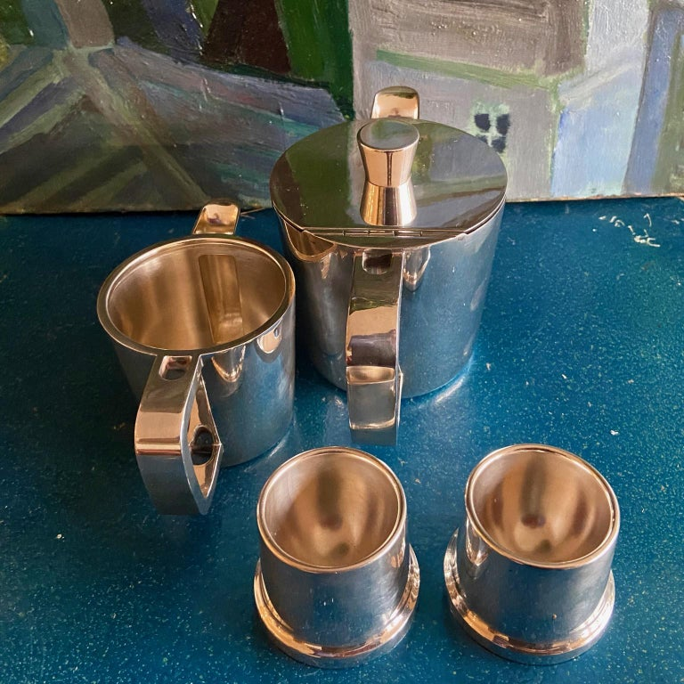 Gio Ponti Silver Plated Coffee Pot, Milk Jug and Egg Cups for Krupp, 1930s-1950s For Sale 3